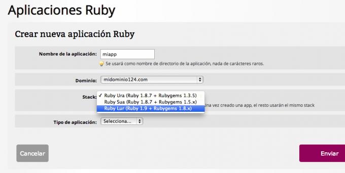 Seleccionar stack Ruby