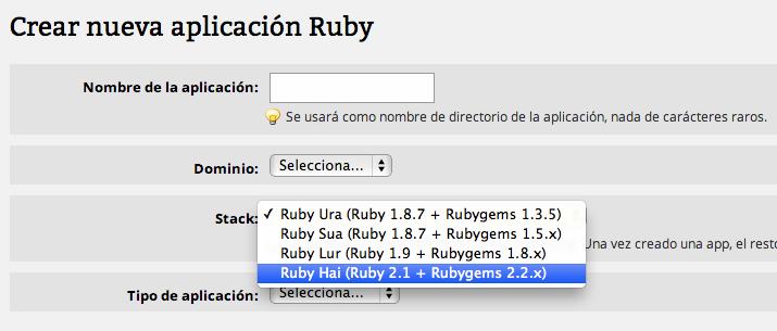 Hosting con Ruby 2.1