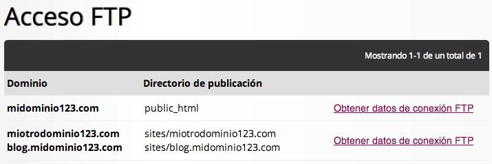 Acceso FTP al hosting