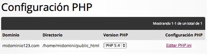 Configuración de PHP