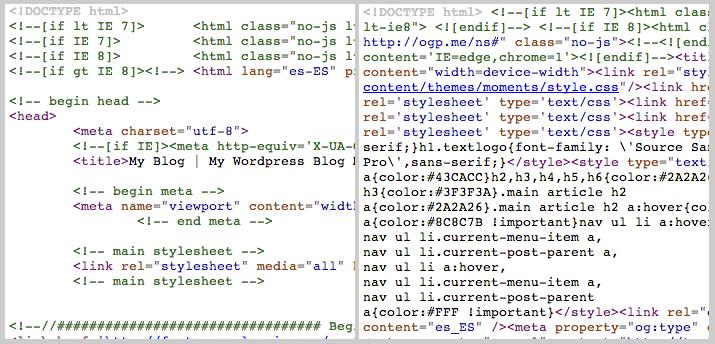 El antes y el después de activar el minify de HTML y XML