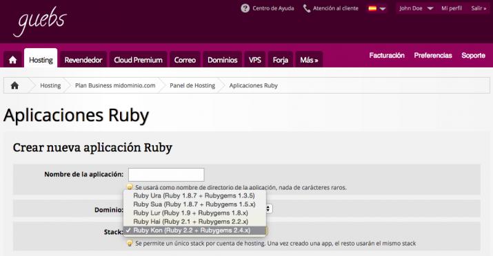Hosting con Ruby 2.2