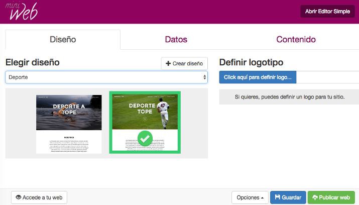 Interfaz del editor Miniweb