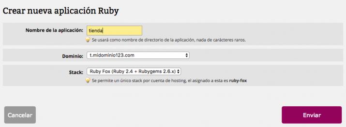 Definir aplicación Ruby Fox