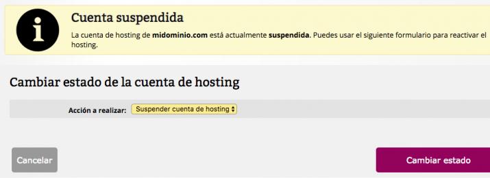 Formulario suspensión hosting