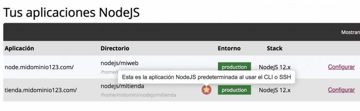 Aplicación NodeJS predeterminada
